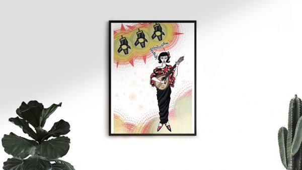 Lámina decorativa ilustrada fadista regalo ilustración arte debuxo
