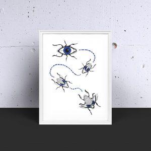 Lámina decorativa OLLOS regalo ilustración arte