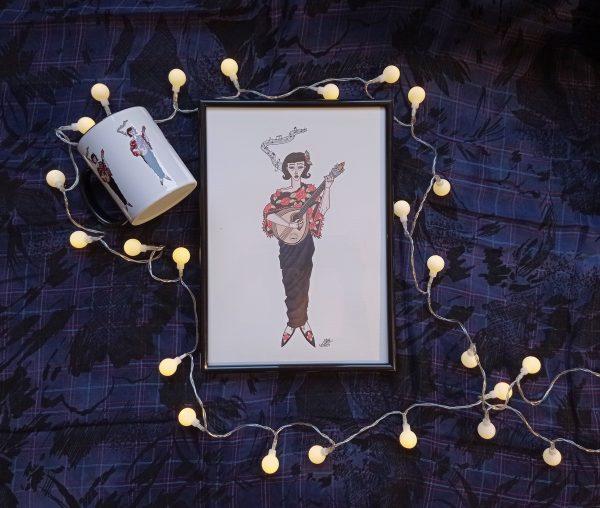 Pack lámina decorativa-taza ilustrada-fado