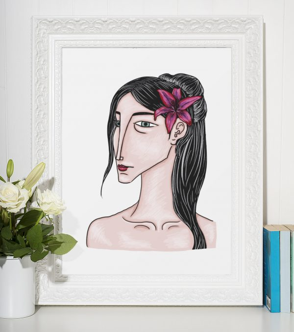Lámina decorativa ilustrada muller retrato lilium florregalo ilustración