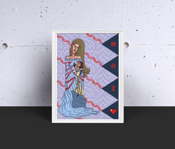 lÁMINA DECORATIVA NAI E FILLA DÍA DA NAI REGALO orixinal ilustración print