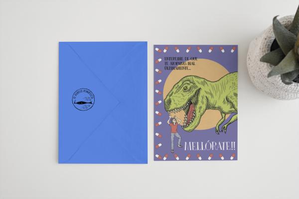 Tarxeta felicitación mellórate enfermo enfermidade regalo dinosauro dino sobre c6 azul